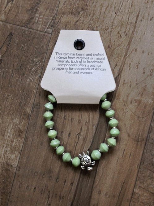 Sea Turtle Recycled Paper Bracelet - Mint