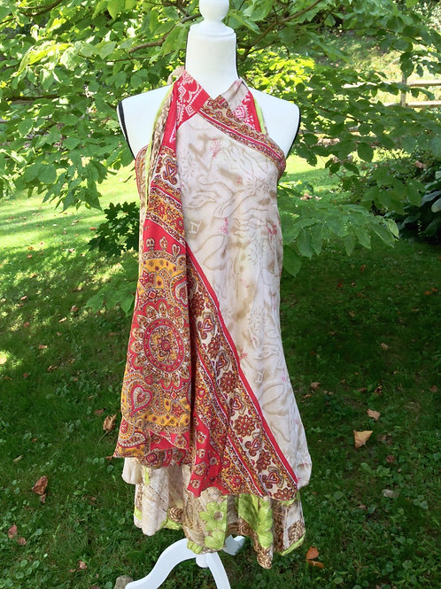 Latte & Scarlet Sari Silk Skirt - Ankle Regular