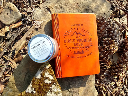 Bible Promise Book for Men + Leather & Cedar Candle