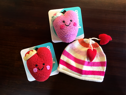 Heart Tasseled Hat & Heart Rattle Bundle