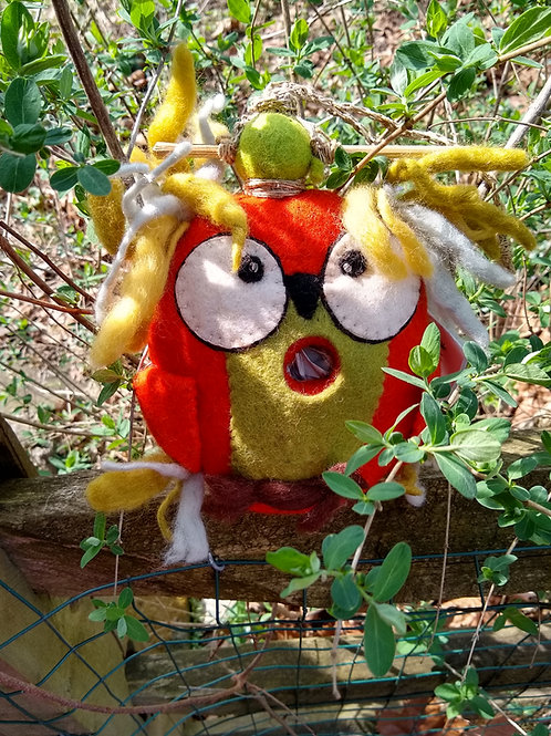 Crazy Owl Felted Birdhouse
