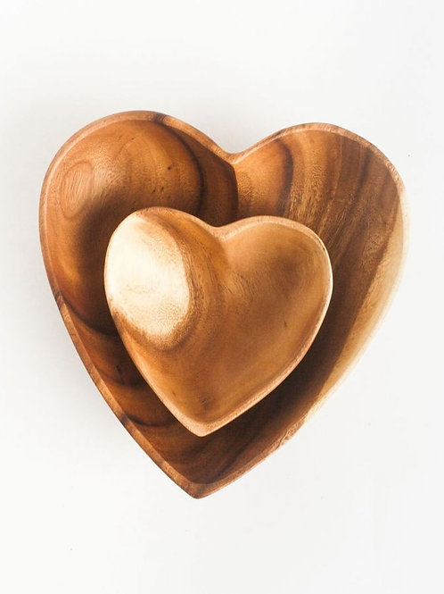 "6"" Acacia Wood Heart Bowl"