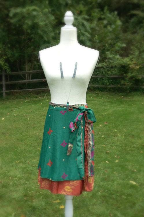 Flower Garden Sari Silk Skirt - Mini XL