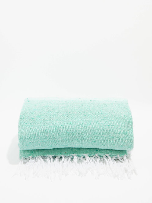 Mexican Serape Blanket- Mint