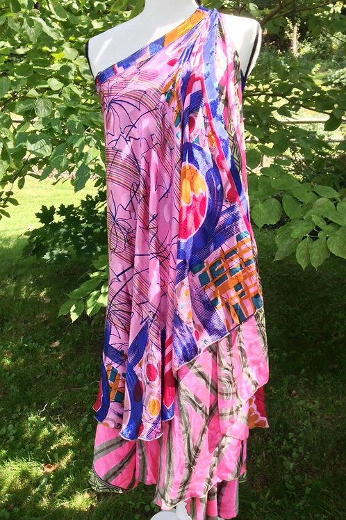 Stained Glass Sari Silk Skirt - Ankle Regular