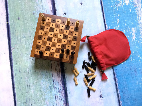 Hand-Carved Travel Chess Set