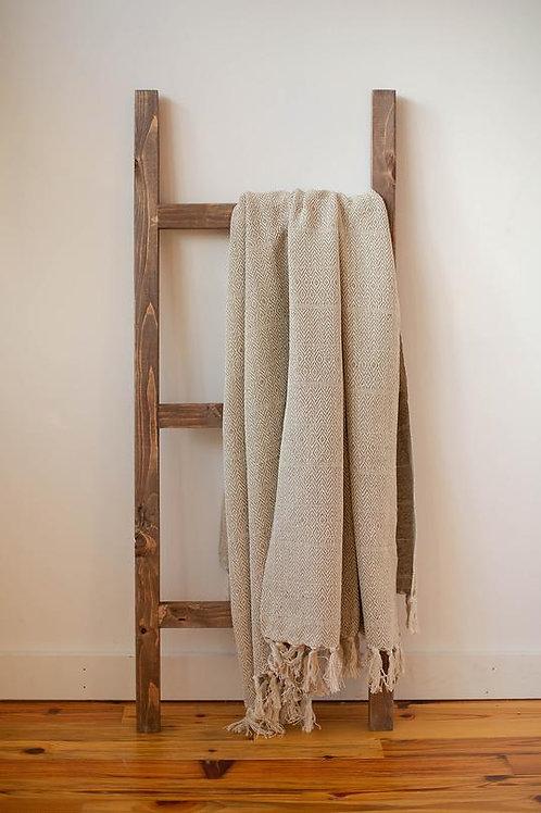 Taupe Herringbone Hand-Loomed Cotton Throw