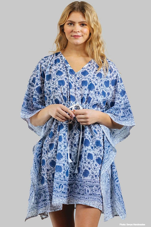 Blue Floral Block-Printed Caftan