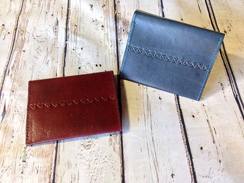 Sustainable Leather Wallet - Navy