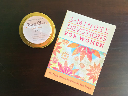 3-Minute Devotions for Women + Rise & Shine Candle