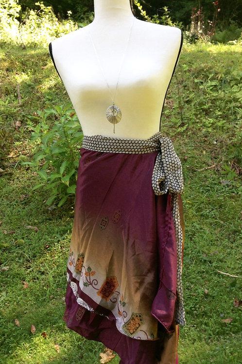Merlot Ombre Sari Silk Skirt - Mini Regular