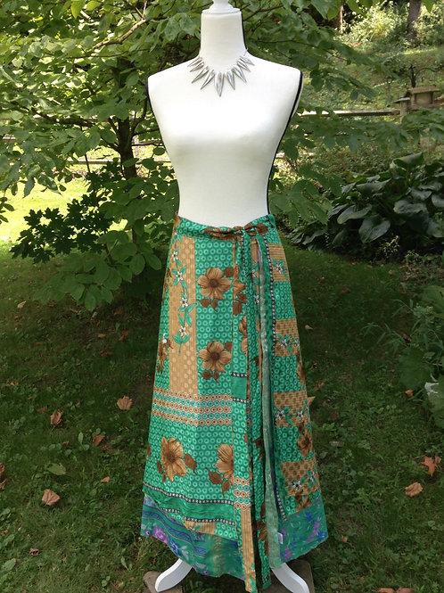 Jade Sari Silk Skirt - Ankle XL