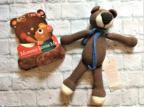 Mommy Loves You Book & Bear Bundle - Brown