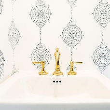 Still crushing on this wallpaper & sink