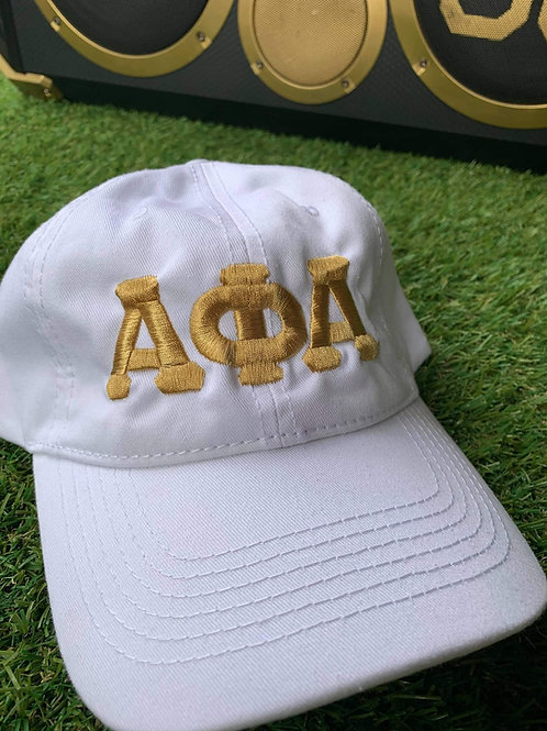 White and Gold ΑΦΑ Cotton Dad hat!