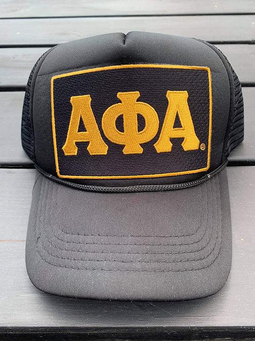 Classic Black/Gold ΑΦΑ Polyester Trucker Hat