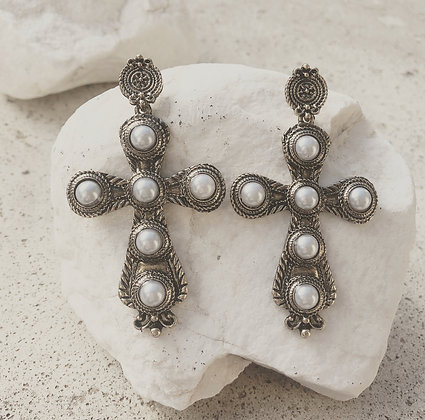 BAROQUE CROSS GOLDEN EARRINGS