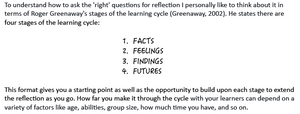 learning cycle - facts, feelings, findings, futures