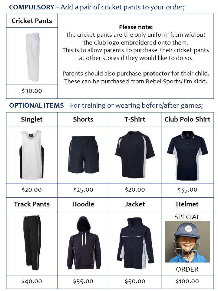 QRJCC Uniform items