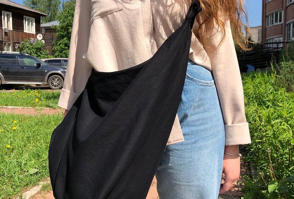 Объёмная  сумка -мешок изо льна