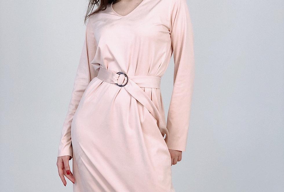 Свободное платье миди из замши