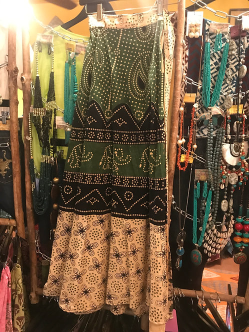 Green and Beige Indian cotton painted skirt