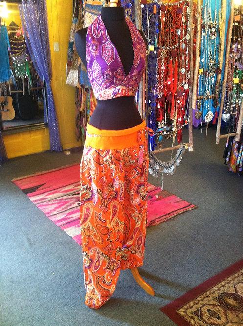 Orange low rise harem pants