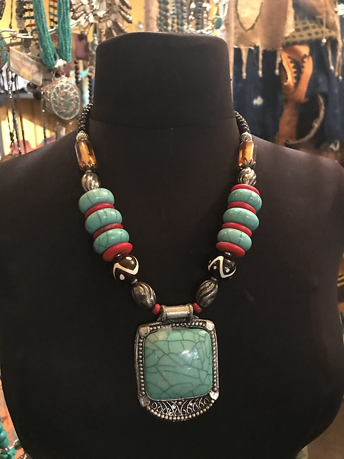 African Inspired Turquoise and coral