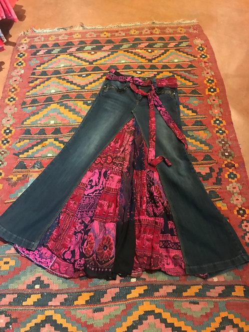Patch Jean skirt