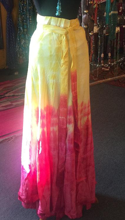 Pink and yellow tye dye wrap skirt