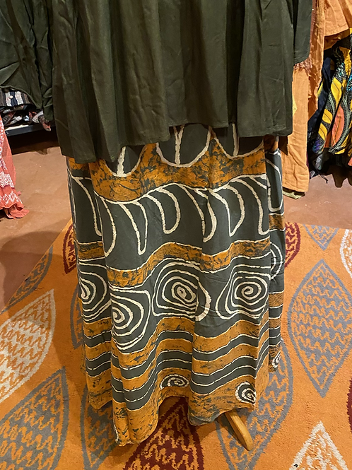 Gold and olive painted wrap skirt
