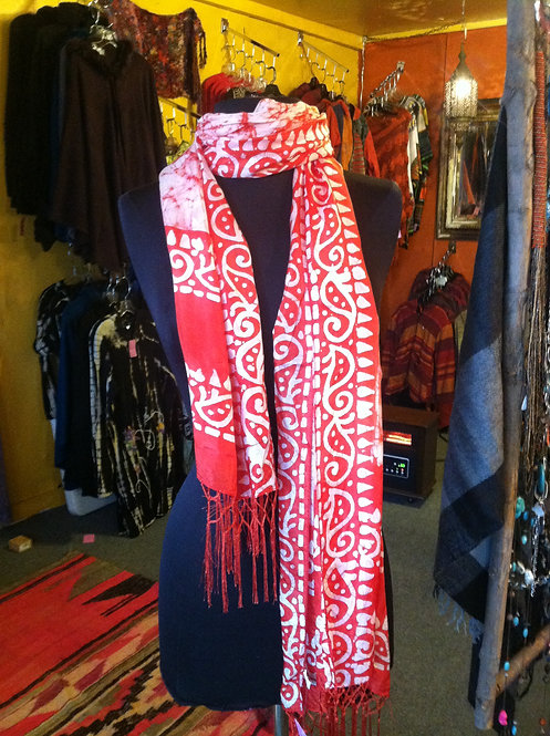 Red Batik Silk Scarf