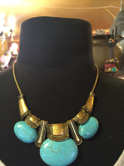 Gold toned with faux turquoise necklace