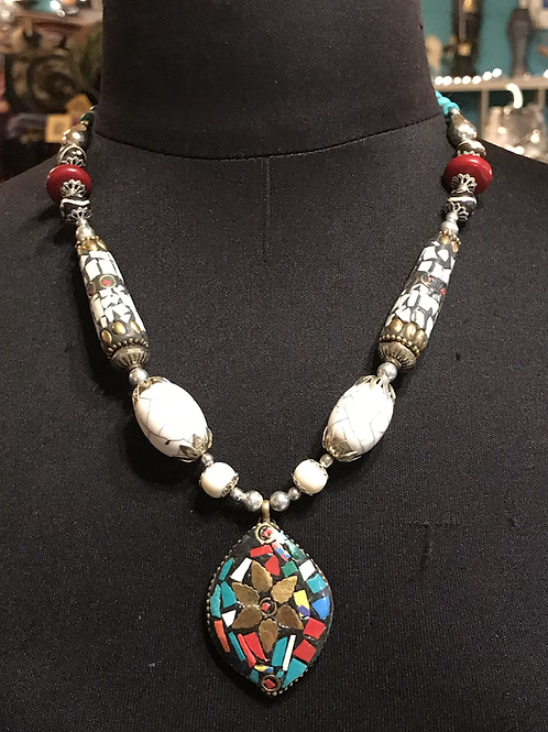 White toned Indian necklace