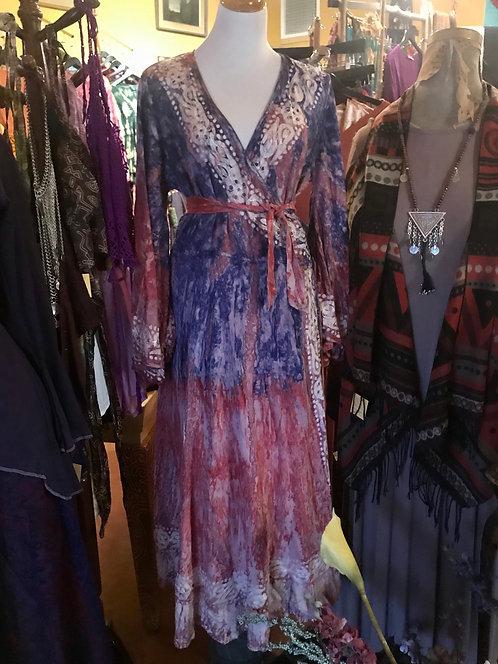 Signature wrap dress indigo/rose