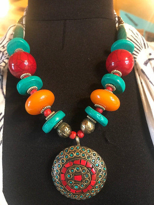 Coral and Turquoise Tibetan necklace