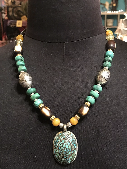 Turquoise and Yellow Indian Necklace