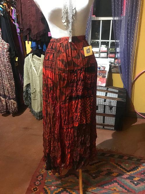 Patch rayon broom skirt