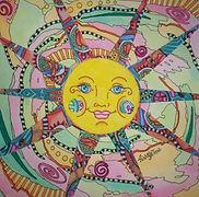 Funky Hippy Chic Boutique Logo, hippie sun