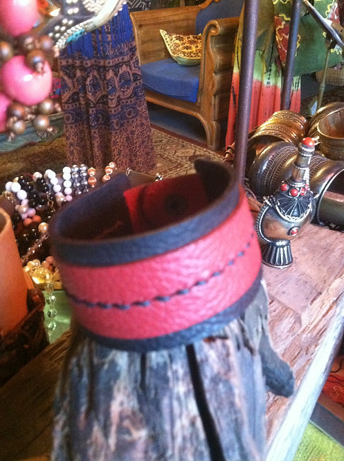 Red Leather snap cuff