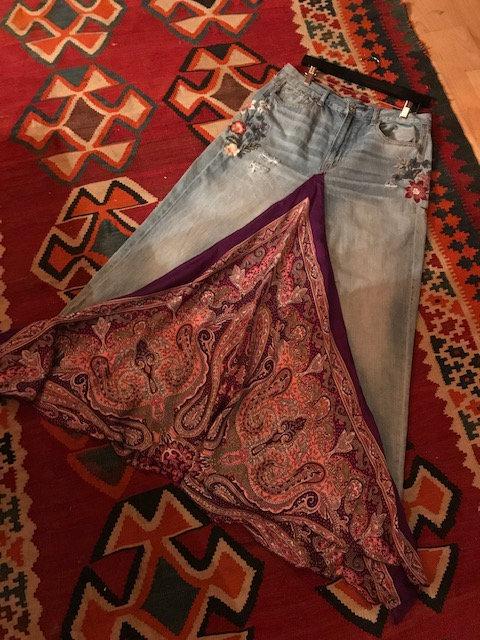 Purple silk Paisley Jean Skirt