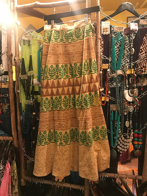 Camel/green Indian cotton painted skirt