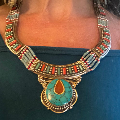 Nepal turquoise And coral necklace