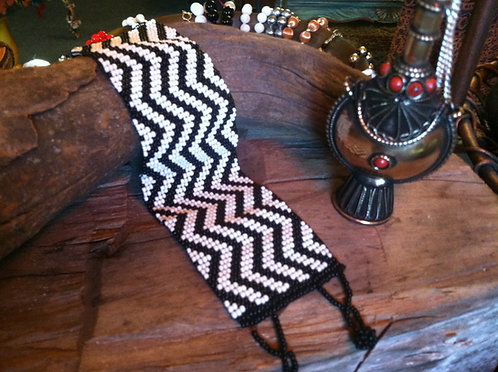 woven beaded cuff Zebra