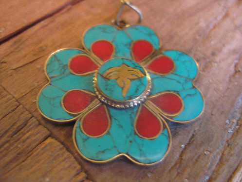 clover flower pendant turquoise and coral