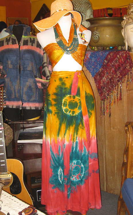 Tye Dye Wrap Skirt (hot pink/mustard)