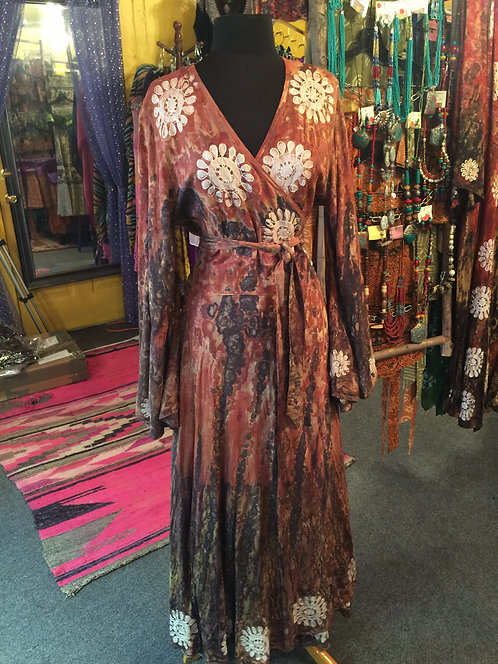 Embroidered detailed tye dye wrap dress brown