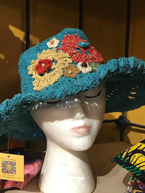 Hemp crocheted floppy hat