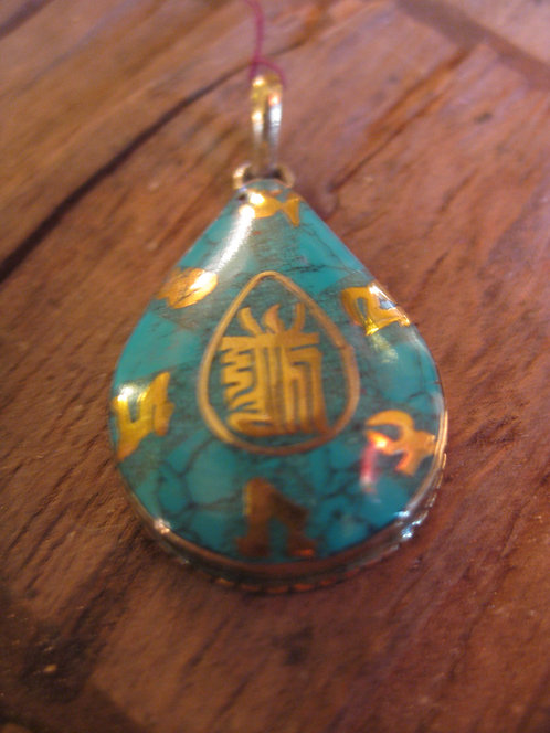 turquoise and gold pendant with OM