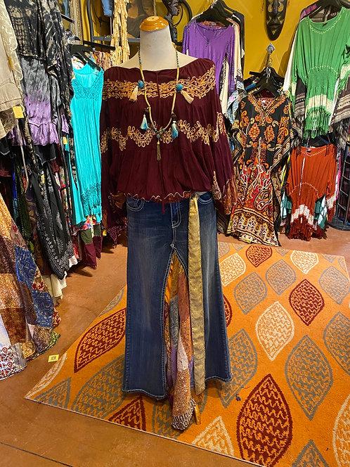 Sari silk patch jean skirt